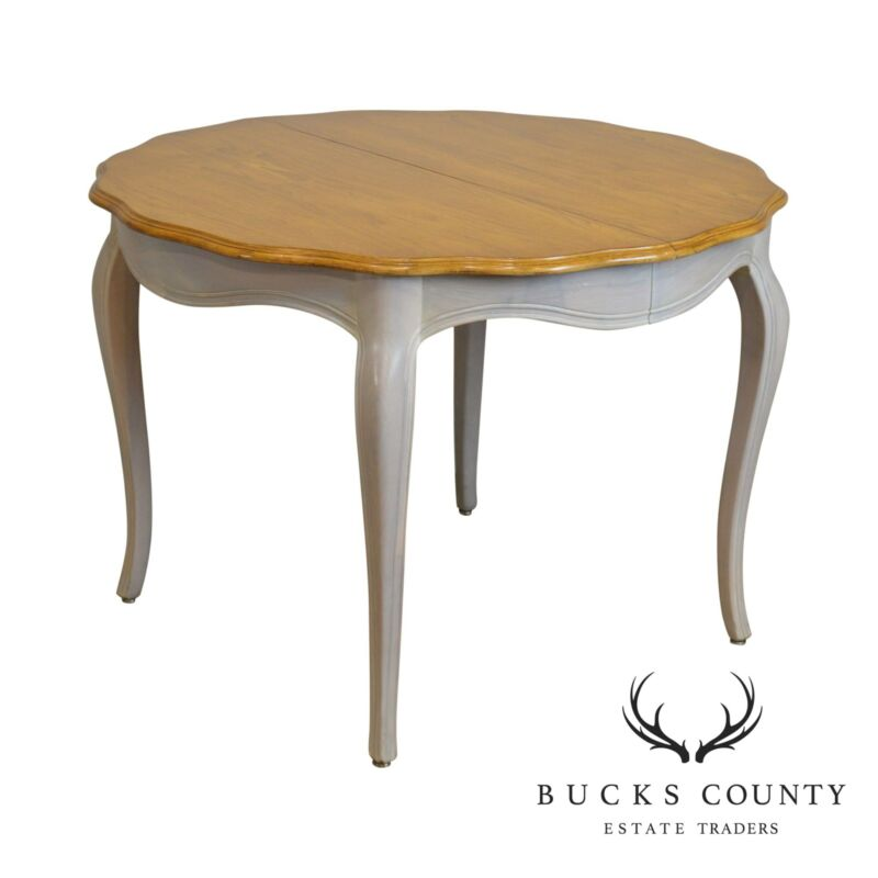 French Country Style Vintage Round Painted Base Dining Table W/ 2 Leaves