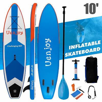 10' Inflatable SUP Stand Up Surfboard Adjustable Non-Slip Paddle Deck Fin Blue