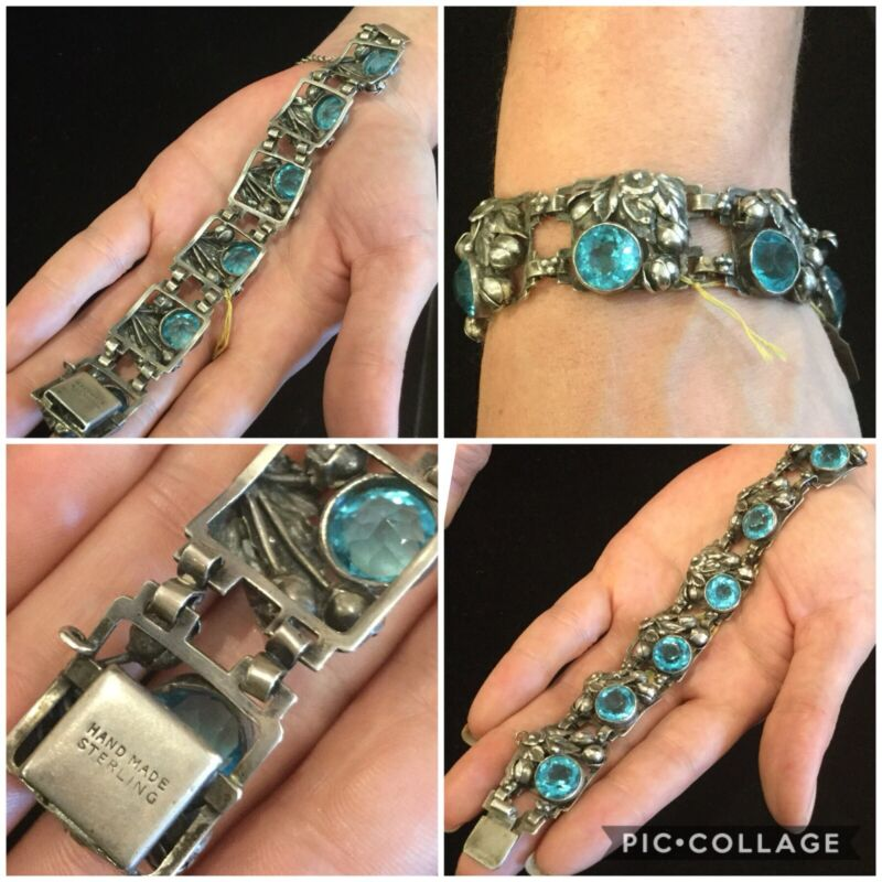VINTAGE HOBE STERLING SILVER & AQUA STONE BRACELET,  SIGNED AND PERFECT!