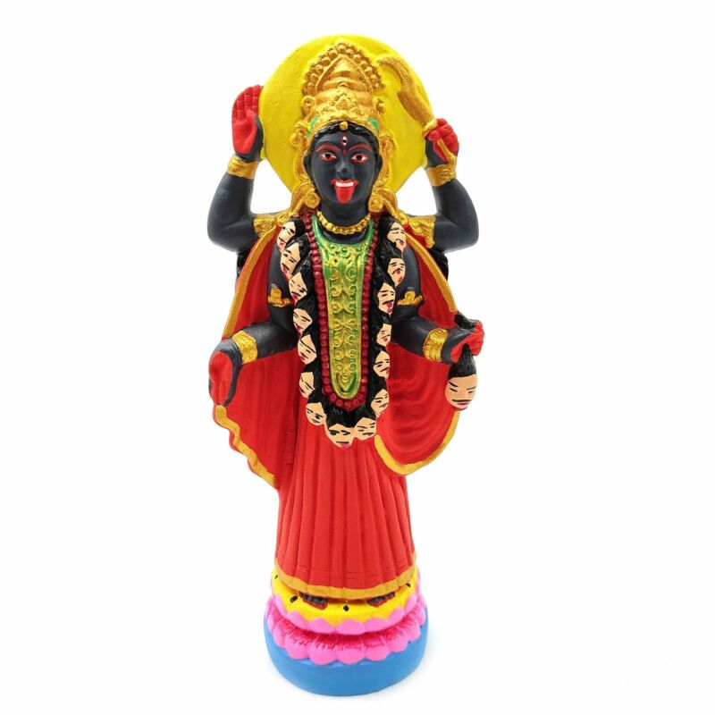"Kali Ma India Goddess Statue Handcrafted Ganges Clay Dakshineshwar Kali 6.5"""