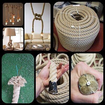 Cuerda soga rope cañamo 30mm lampara luz cable 3cm electrico decoracion