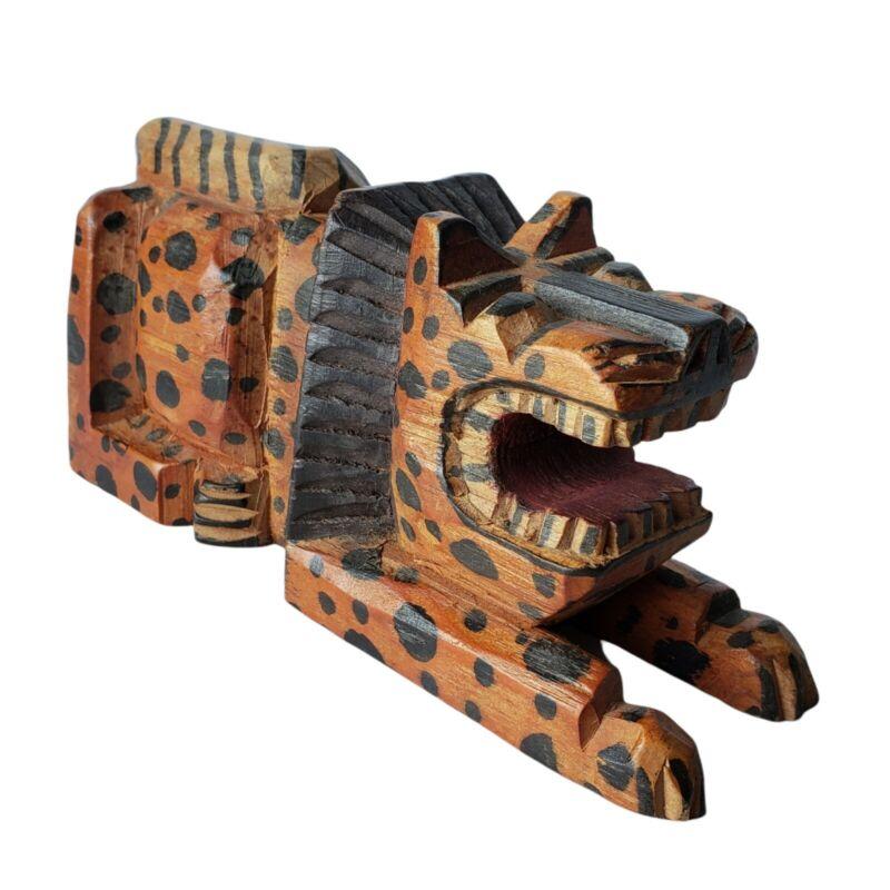 Vintage African Spotted Lion Wood Carving Figure Maned Leopard Africa Carved Art