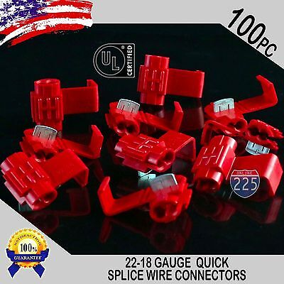 100 Pack 22-18 Gauge Red Quick Splice Tap Wire Connectors Install Terminals UL