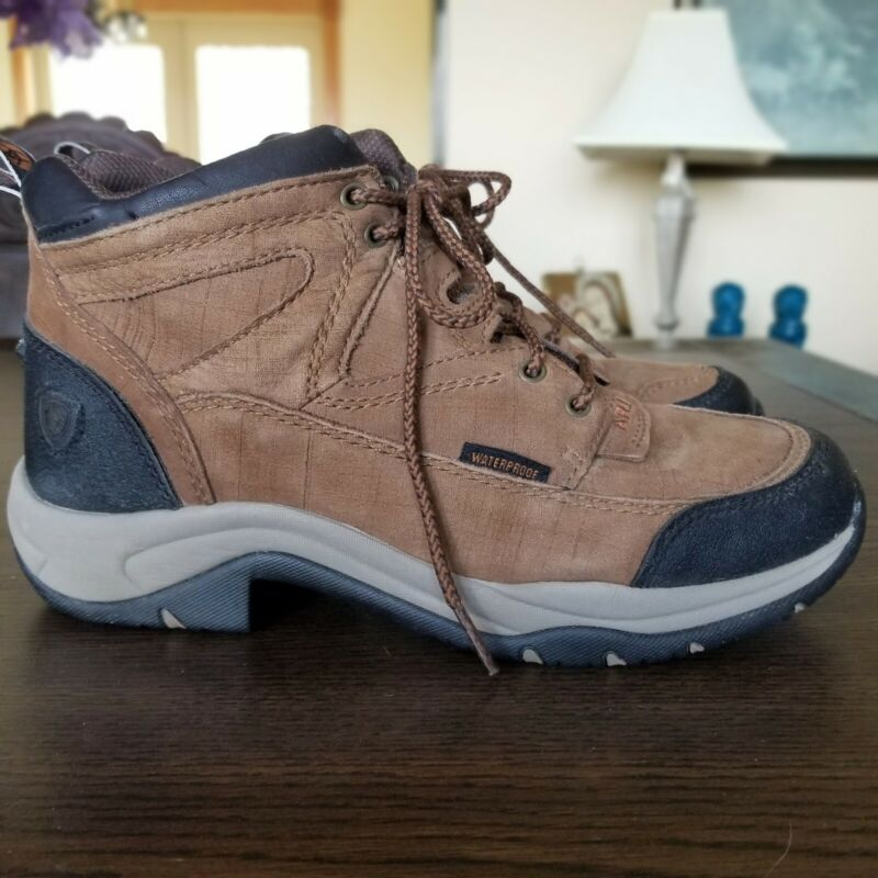 Ariat Womens Terrain Waterproof Boots Sz 8 Distressed Brown Suede EUC