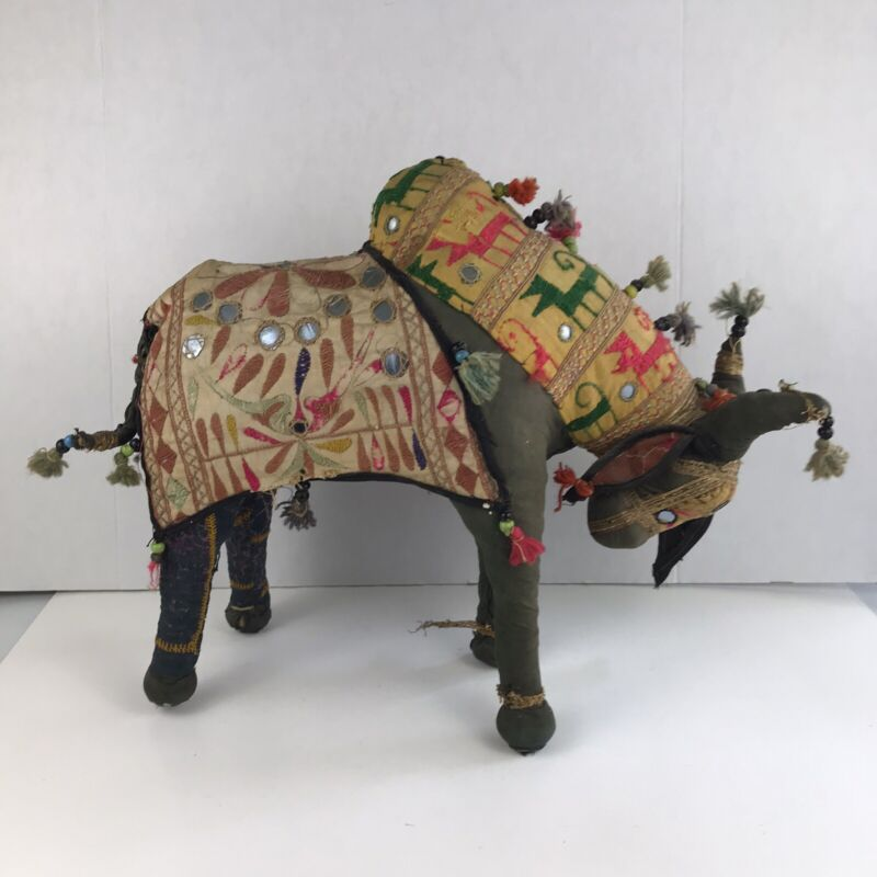 Vintage Collectible East India Stuffed Brahman Bull Animal Ceremonial Religious