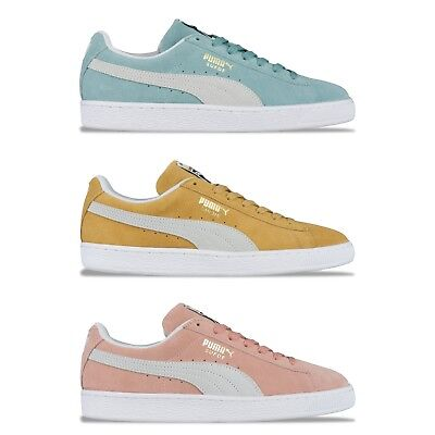 PUMA SUEDE CLASSIC TRAINERS - PUMA SUEDE 365347 - PASTEL PINK, BLUE, YELLOW