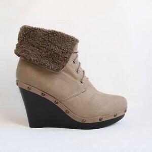 stiefeletten 38 beige khaki keilabsatz wedges damen winterschuhe boots a 18. Black Bedroom Furniture Sets. Home Design Ideas