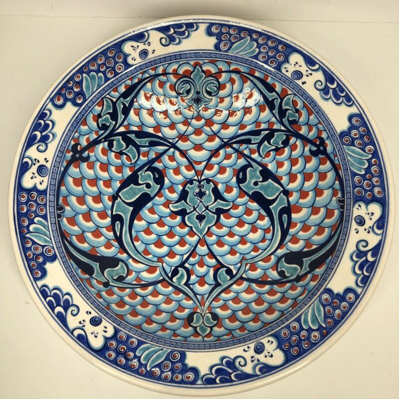 "Vintage ALTIN GINI Hand Painted Stunning 12"" Decor PLATE Kutahya TURKEY"