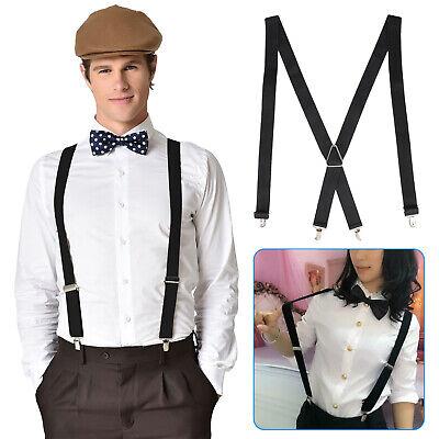 Mens Black X-Back Clip-on Suspenders Adjustable Elastic Retr