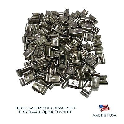 High Temperature 100 Pcs Flag Female Quick Connectors 16-14 AWG Gauge .250 FQC