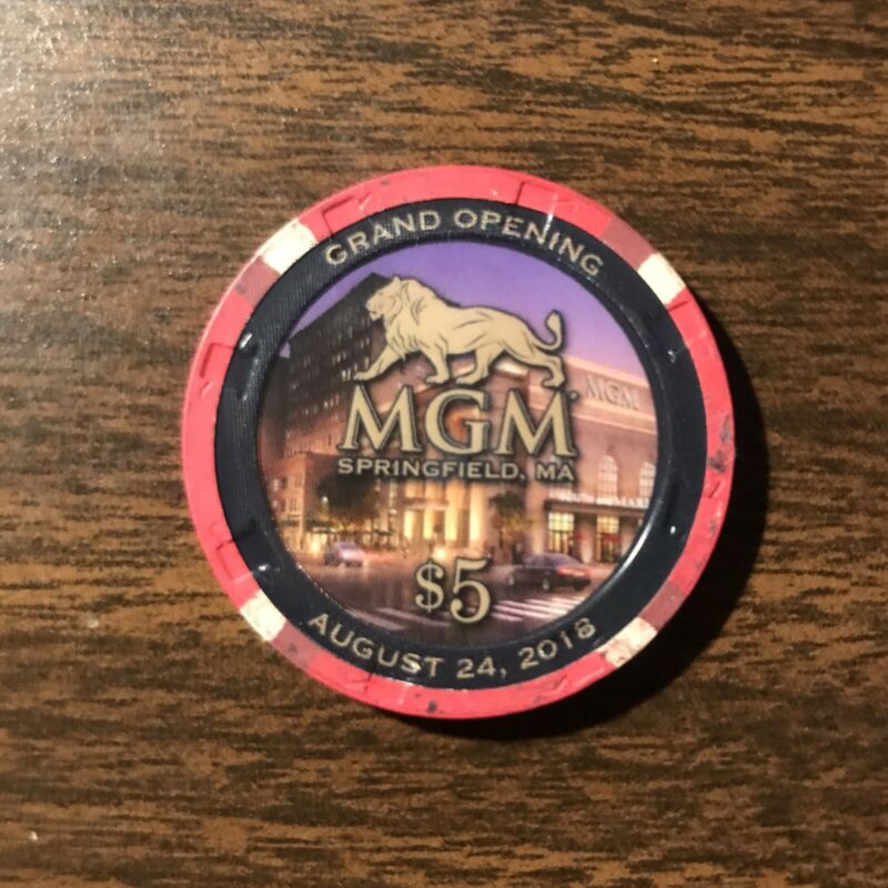 MGM Springfield Grand Opening Limited Edition Casino Chip $5 Double Sided 2018