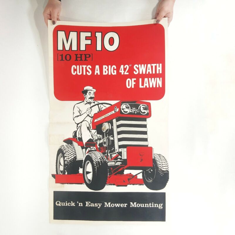 "VINTAGE c. 1960s MASSEY FERGUSON MF10 TRACTOR DEALERSHIP DISPLAY AD SIGN 34""x20"""