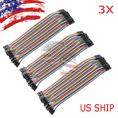 3x 40pcs 20cm Female To Female Dupont Wire Jumper Cable For Arduino Breadboard