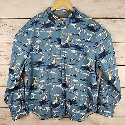 Nautica Men's 3XL Classic Fit Sailboat Graphic Print Long Sleeve Button Up Shirt