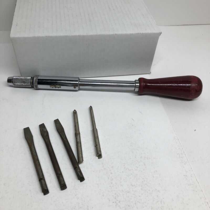 """Vintage Millers Falls Co. No. 61 12"""" Hand Push Screw Driver Antique with 5 Bits"""