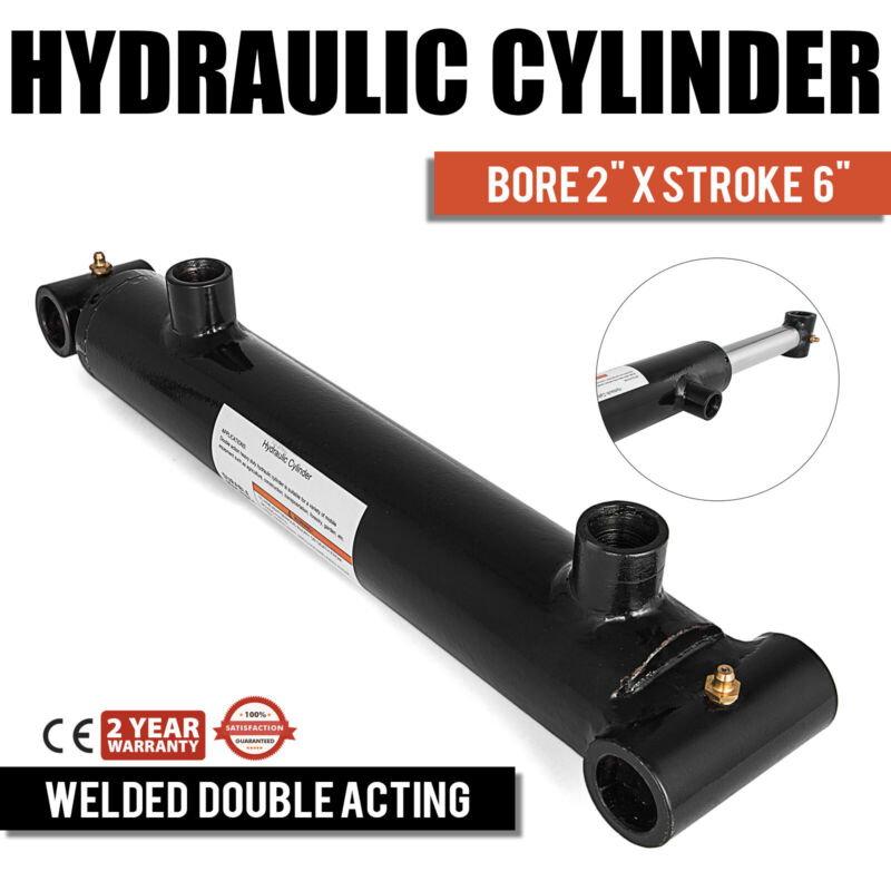 """Hydraulic Cylinder Welded Double Acting 2"""" Bore 6"""" Stroke Cross Tube End NEW"""