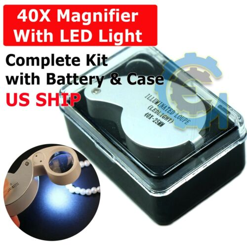 40X 25mm Illuminated Magnifier Jeweler LED Lighted Loupe Loop with Case