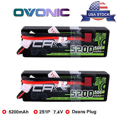 2X 50C 2S1P 5200mAh 7.4V RC Lipo Battery Deans Plug Hardcase For Car Truck Buggy