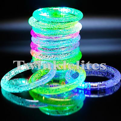 12 LED Rave Bracelets Party Favors Glow In The Dark Flashing Plastic Bands - Led Glow Bracelets