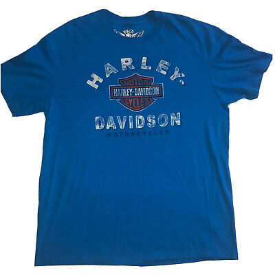 Harley-Davidson Biker Built Tattooed Bull Blue T-shirt Size X-Large See Note