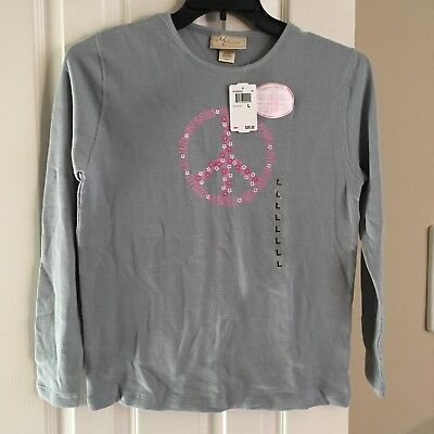 NEW M&C Sportswear, Peace Symbol Breast Cancer Awareness Thermal Top Size L  NWT (Breast Cancer Symbols)