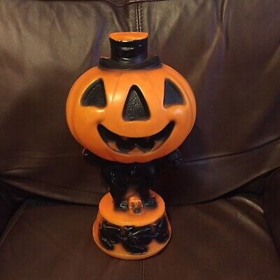 Vintage 1960s Light Up Empire Blow Mold Halloween Pumpkin Black Cat Witches