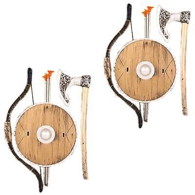 2 x Wikinger Set für Kinder Schild & Axt 3 Pfeile Bogen Zubehör für Kostüm (Wikinger Kostüme Für Kinder)
