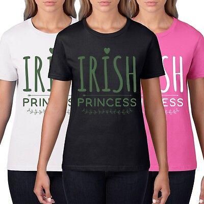 Irish Princess Womens St Patricks Day T-Shirt Cute Queen Top Tee Ireland P27 ()