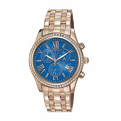 Citizen Eco-Drive Women's FB1363-56L Chronograph Blue Dial Rose Gold 40mm Watch