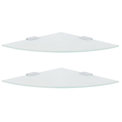 HARTLEYS SET OF 2/PAIR SMALL FROSTED CORNER WALL MOUNTED GLASS FLOATING SHELVES