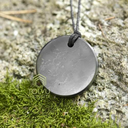 Shungite Pendant Circle Natural EMF Protection stone from Karelia, Tolvu