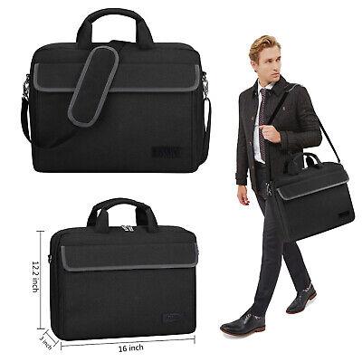 15.6 Inch Laptop Bag Vintage Laptop Briefcase Black Messenger Shoulder Bag Large