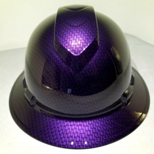 Hard Hat FULL BRIM custom hydro dipped , OSHA MOPAR PLUM CRAZY CARBON FIBER