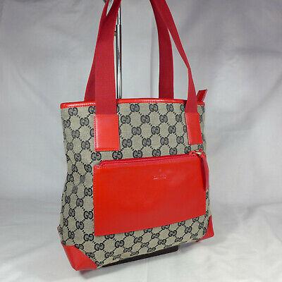 Authentic Vintage Gucci Grey GG Canvas Small Tote Shoulder Handbag Purse Ex Con