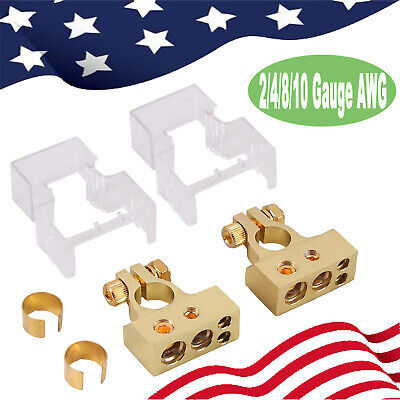 2pcs 24810 Awg Battery Terminal Heavy Duty Clamp Positivenegative Connectors