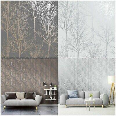 Holden Decor Rhea Trees Wallpaper - Warm Grey  - Silver - Statement Feature Wall