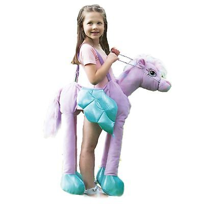 Kinder Mädchen lila darauf Reiten Pferd Märchen Pegasus - Kinder Kostüme Pferd