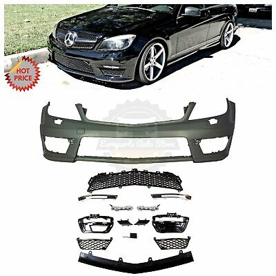 MERCEDES BENZ C63 STYLE FRONT BUMPER W/ LED DRL FOR 08-14 W204 C CLASS W/O PDC
