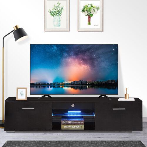 "63"" High Gloss Black LED Shelves TV Stand Unit Cabinet Drawe"