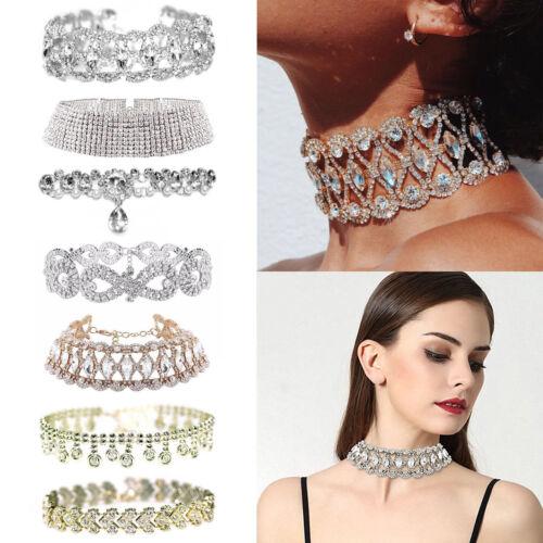 Jewellery - Noble Stylish Full Diamond Crystal Rhinestone Choker Collar Necklace Jewelry