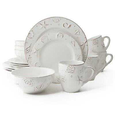 Hampton 16-Piece Stoneware Dinnerware Set - Coastal, Serves 4 - NEW - 16 Piece Stoneware Dinnerware Set