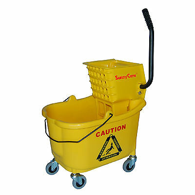 Sunnycare 35qt Mop Bucket With Wringer Side Press -plastic -yellow -new