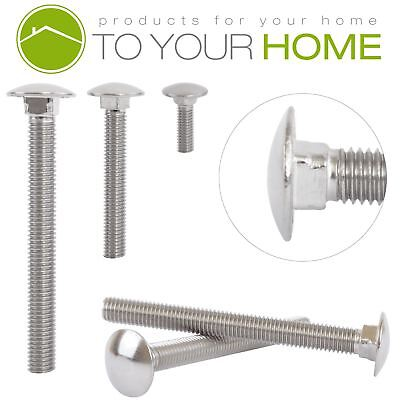 Carriage Bolts A2 Stainless Steel Round Head Coach Screws M6 M8 M10