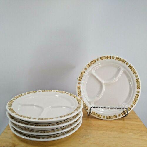 vintange Buffalo China restaurant ware golden rim divided dinner plates