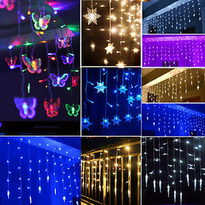 3m 96 led star curtain window hanging icicle fairy lights. Black Bedroom Furniture Sets. Home Design Ideas