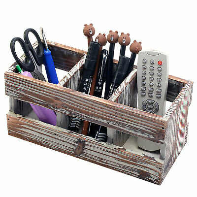 3 Compartment Torched Wood Desktop Office Supplies Desk Organizer Storage Holder