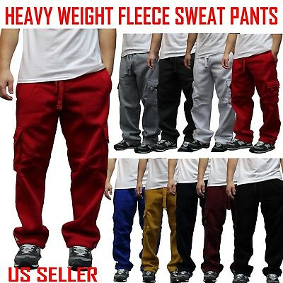 BIG and TALL MEN CARGO SWEAT PANTS TRACK FLEECE HEAVY WEIGHT BASKETBALL WARM UP