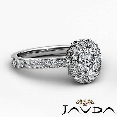 Milgrain Halo Pave Bezel Set Cushion Shape Diamond Engagement Ring GIA H VS1 1Ct 2
