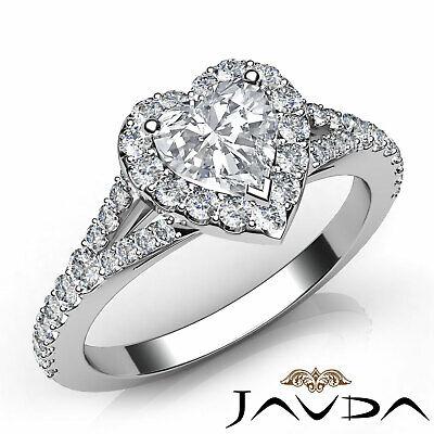 Halo Split Shank Pave Heart Cut Diamond Engagement Ring GIA Certified G VVS2 1Ct