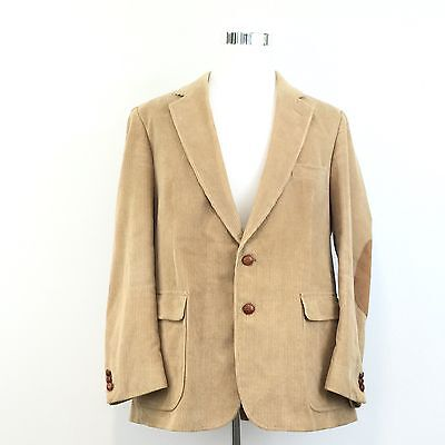 Mens VINTAGE CORDUROY 2 BUTTON BLAZER Suede Elbow Patches Fully Lined Size 44 - Fully Lined Suede Blazer
